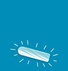 תמונה של טמפון לבן על רקע כחול, לטמפון יש קווים מסביב לו