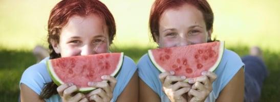 תמונה של שתי נערות עם חתיכת אבטיח לצד הפנים שלהן. התמונה ממחישה כיצד יישום הטיפים יעזור לך לעשות את הדברים שאתה אוהב בזמן המחזור