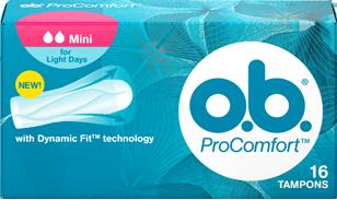 תמונה של אריזת ™o.b.® ProComfort מיני. לטמפון יש 2 טיפות והוא מומלץ לזרימה קלה ולבנות אשר מתחילות את השימוש בטמפונים.