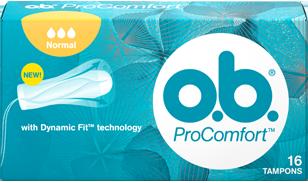 תמונה של אריזת o.b.® ProComfort™ נורמל. לטמפון יש 3 טיפות והוא מומלץ לזרימה קלה עד בינונית..