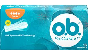 תמונה של אריזת ™o.b.® ProComfort™ סופר. לטמפון יש 4 טיפות והוא מומלץ לזרימה כבדה עד כבדה מאוד.