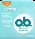 תמונה של אריזת טמפון o.b.® עם מוליך סופר. לטמפון יש 4 טיפות והוא מומלץ לזרימה כבדה עד כבדה מאוד.