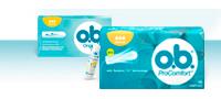 תמונה של מוצרים שונים ממגוון המוצרים של טמפוני o.b.:  o.b.® Original ו -  o.b.® ProComfort™